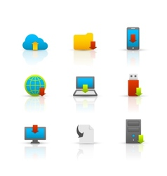 Internet download symbols icons set vector image