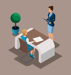 isometric girl entrepreneur reads a loan agreement vector image