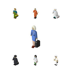 Isometric human set of doctor plumber medic and vector