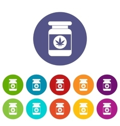 Jar of powder marijuana set icons vector image