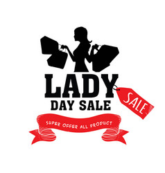 lady day sale shopping super offer all product rib vector image