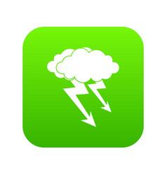 lightning cloud icon digital green vector image
