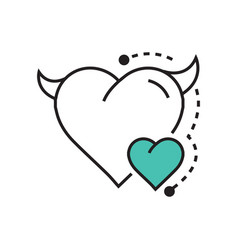Line icon style heart devil color blue vector