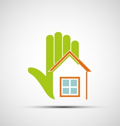 Logo of the human hand and at home vector image