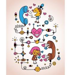 Love telephone conversation vector