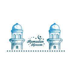 Luxury minarets hand drawn style background vector