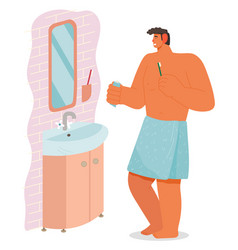 Male character cleaning teeth in bathroom vector