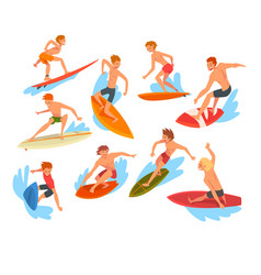 male surfers characters riding waves set vector image