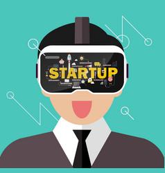 man wearing virtual reality headset startup vector image
