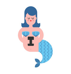 mermaid with phone isolated mythical sad woman vector image