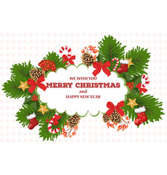 merry christmas card wreath vector image