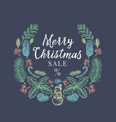 merry christmas sale discount hand drawn sketch vector image