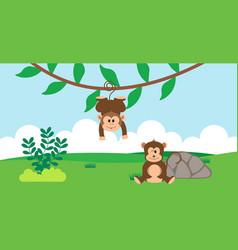 Monkey cute animals in cartoon style wild animal vector