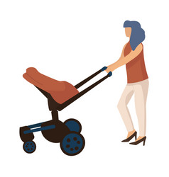 mother walking with carriage cartoon woman vector image