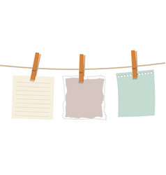 note paper hanging on rope vector image