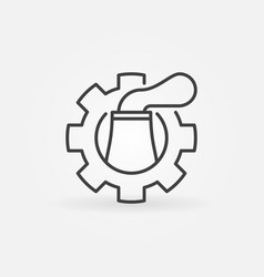 nuclear plant in cog icon vector image