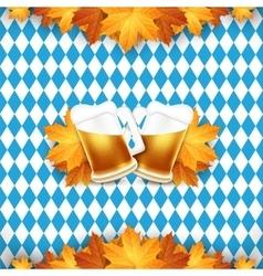Oktoberfest Two beer mugs on vector image