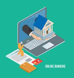 online banking concept cartoon banner vector image