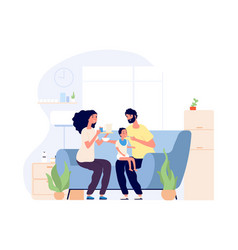 Parents and bafeeding infant happy young vector