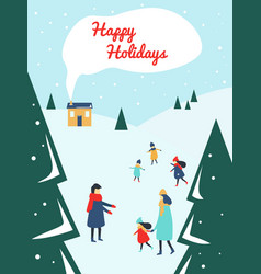 parents and children playing outside with snow at vector image