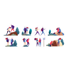 people hiking young couple travel together happy vector image