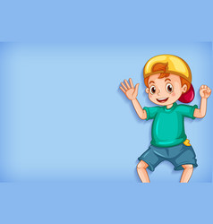 Plain background with happy boy in green shirt vector