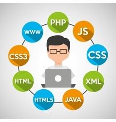 programmer languages working laptop vector image