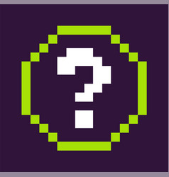 question mark in circle pixel game icon vector image