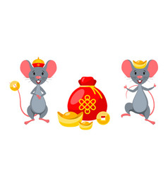 Rats mice with golden ingot and coins chinese vector