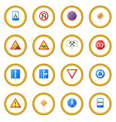 road sign set icon circle vector image