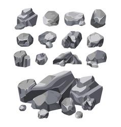 Rock stones boulder piles broken rubble blocks vector