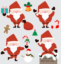 Santa claus and christmas accessories vector image