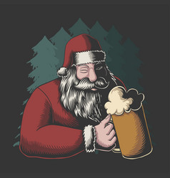 Santa drinking beer merry christmas vector