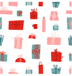 seamless pattern with colorful gift boxes with vector image
