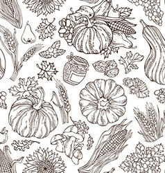Seamless sketch Thanksgiving pattern vector