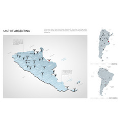 set argentina country isometric 3d map vector image