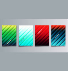 set colorful gradient cover with line shadows vector image