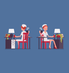 sexy nurse working at the desk vector image