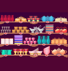 Shop or store showcase with kitchen dish crockery vector