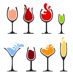 Silhouette of wine glass with splash vector