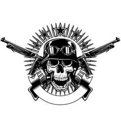 skull in helmet with goggles and crossed machine vector image