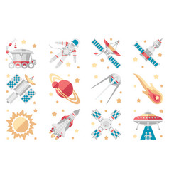space icons set space shuttle spaceship orbital vector image