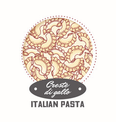 Sticker with hand drawn pasta creste di gallo vector