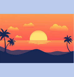 sunset tropical beach with palm trees and sea vector image