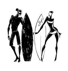 Surfer silhouettes of woman and man vector