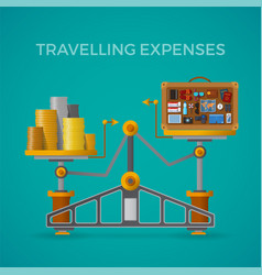 travel tourism expenses concept with balance vector image
