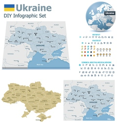 Ukraine maps with markers vector