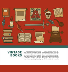 Vintage books shop volumes manuscript and history vector