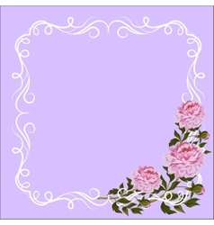 Vintage frame with curl decoration and pink vector