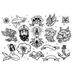 Vintage marine and nautical tattoos set vector